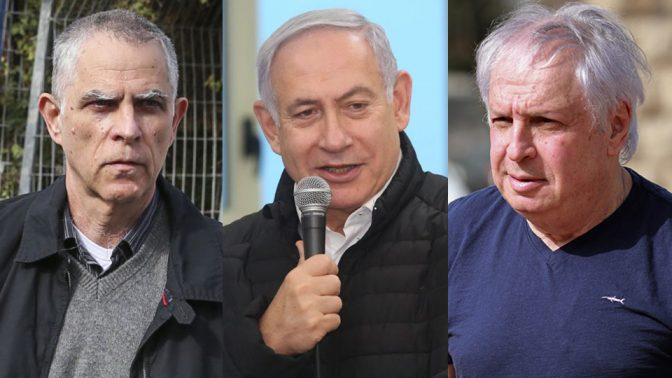 בנימין נתניהו (במרכז), ארנון מוזס ושאול אלוביץ' (צילומים: מארק ישראל סלם, קוקו ופלאש 90)