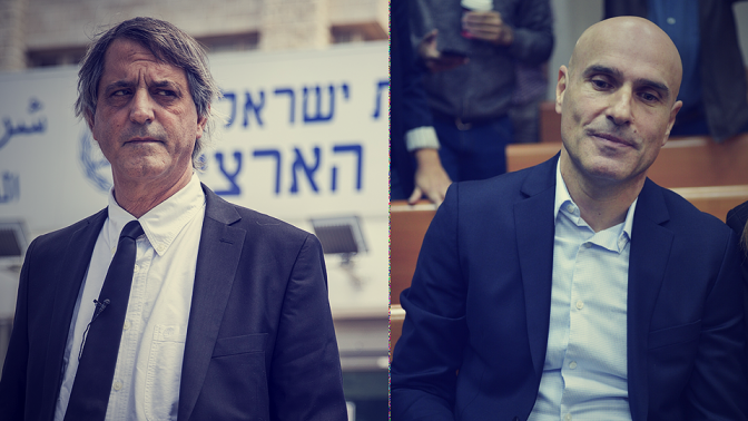 """מימין: יו""""ר לשכת עורכי-הדין לשעבר אפי נוה, ומחליפו אבי חימי (צילומים: יונתן זינדל ואבי דישי)"""