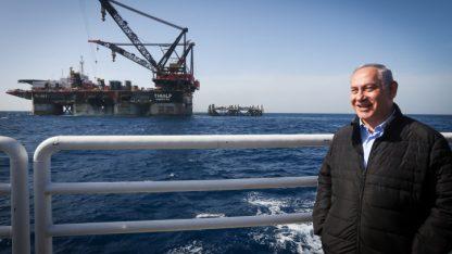 בנימין נתניהו על רקע אסדת הגז לווייתן, 31.1.2019 (צילום: מרק ישראל סלם)