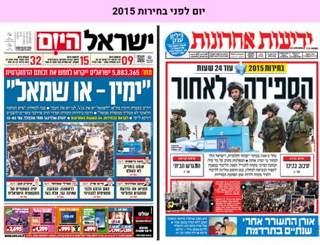 """יום לפני בחירות 2015: השערים של """"ידיעות אחרונות"""" ו""""ישראל היום"""""""