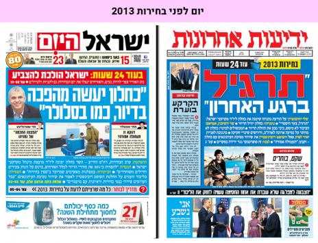 """יום לפני בחירות 2013: השערים של """"ידיעות אחרונות"""" ו""""ישראל היום"""""""