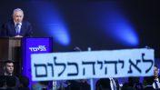 ראש הממשלה, בנימין נתניהו, נושא את נאום הניצחון שלו בליל הבחירות. תל-אביב, 9.4.2019 (צילום: נעם ריבקין-פנטון)