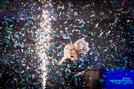 בנימין ושרה נתניהו חוגגים את נצחון הליכוד בבחירות, 9.4.2019 (צילום: יונתן זינדל)