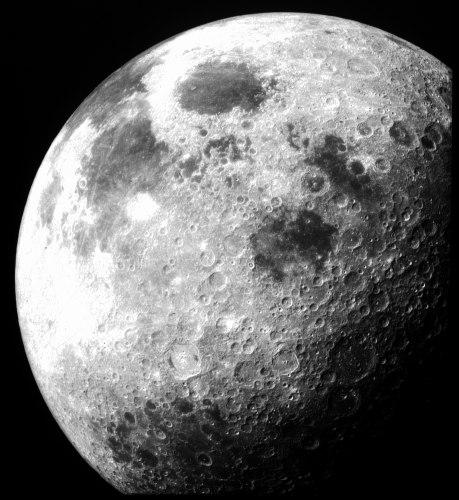 הירח כפי שצולם ב-1969 מהחללית אפולו 12 (צילום: NASA)
