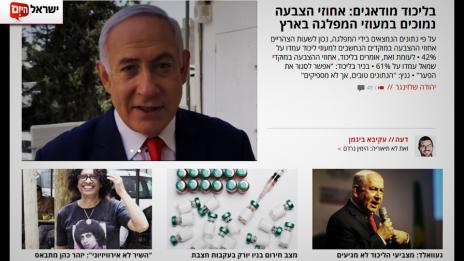 """דף הבית של """"ישראל היום"""" ביום הבחירות"""