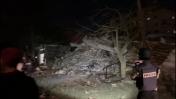 שרידי הבניין בעזה שבו שכנו משרדי סוכנות הידיעות הטורקית אנאדולו, 5.5.19 (צילום מסך: אנאדולו)