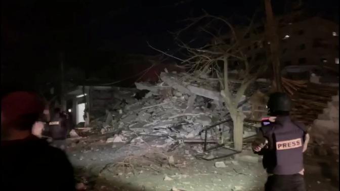 שרידי הבניין שבו שכנו משרדי סוכנות הידיעות הטורקית אנאדולו. עזה, 5.5.2019 (צילום מסך: אנאדולו)