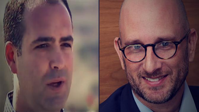 מנהלי הקמפיינים ג'ורג' בירנבאום (מימין) ואהרון שביב (צילומים: פלאש90 וצילום מסך)