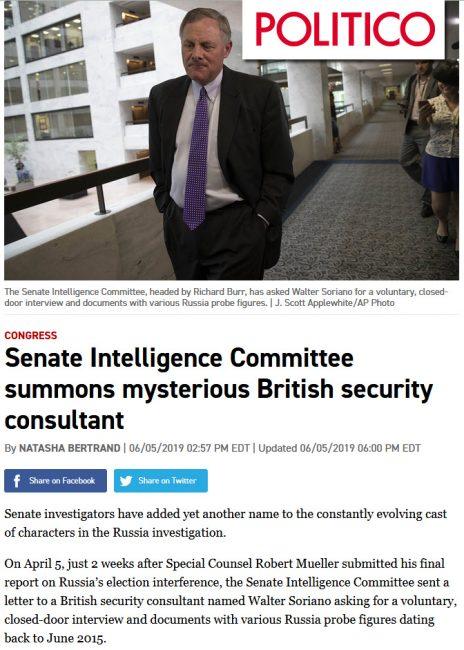 """""""ועדת המודיעין של הסנאט מזמנת יועץ אבטחה בריטי מסתורי"""", הכותרת ב""""פוליטיקו"""" לדיווח על וולטר סוריאנו, 6.5.2019 (צילום מסך)"""