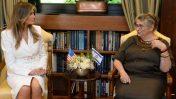 הגברות הראשונות נחמה ריבלין ומלאניה טראמפ (צילום: דוברות בית הנשיא)