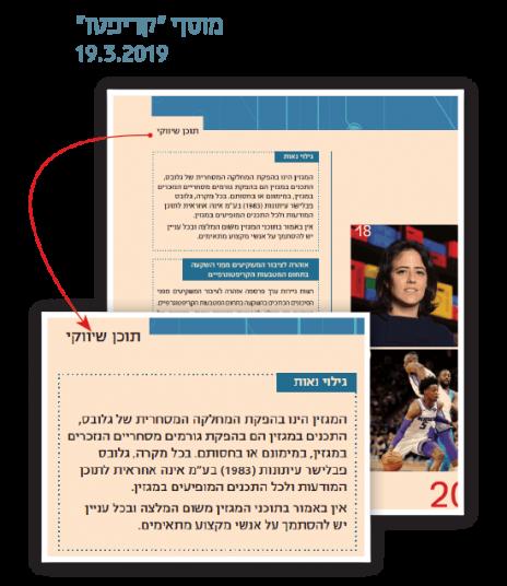 """דוגמה לסימון תוכן שיווקי, מתוך מוסף של """"גלובס"""" שחולק למנויים בחודש מרץ השנה (מתוך """"דו""""ח האמון"""")"""