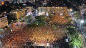 הפגנה נגד מדיניות משטרת ישראל, כיכר רבין בתל-אביב, 18.7.2019 (הצילום באדיבות www.skyvideo.me)