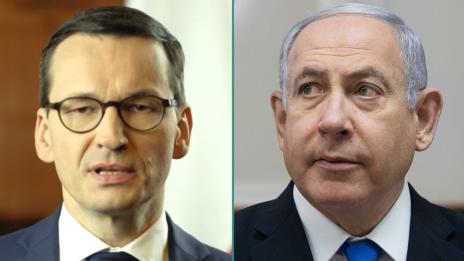 ראש ממשלת ישראל בנימין נתניהו וראש ממשלת פולין מטאוש מורבייצקי (צילומים: פלאש 90 וצילום מסך)
