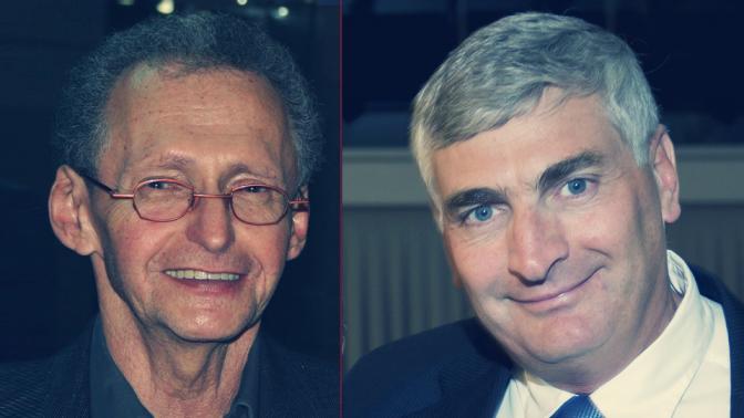 """מנכ""""ל רציו יגאל לנדאו (מימין) והפרשן הכלכלי של """"ידיעות אחרונות"""" סבר פלוצקר (צילומים: פלאש 90 ואורן פרסיקו)"""