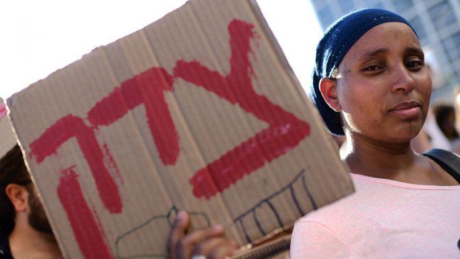 הפגנה נגד אלימות משטרתית, תלאביב, 3.7.19 (צילום: תומר נויברג)