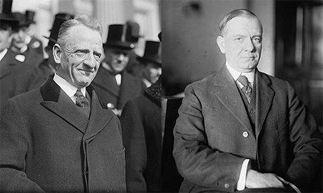סנאטור קארטר גלאס (משמאל) וחבר הקונגרס הנרי סטיגל (צילומים: נחלת הכלל)