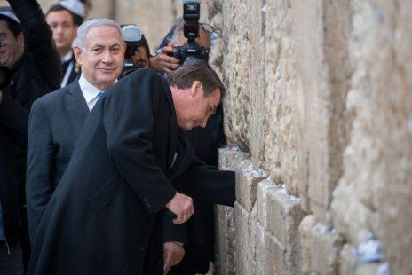 נשיא ברזיל ז'איר בולסונארו עם ראש ממשלת ישראל בנימין נתניהו. ירושלים, 1.4.2019 (צילום: יונתן זינדל)