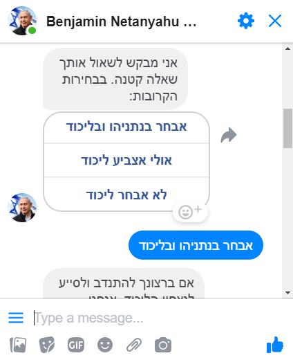 מתוך שיחה עם הבוט של בנימין נתניהו (צילום מסך, לחצו להגדלה)