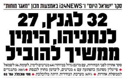 """""""ישראל היום"""", כותרת ראשית, 5.4.2019 (לחצו להגדלה)"""