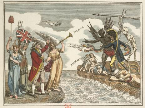 איור המבטא את הפחד מפלישה צרפתית לבריטניה, לאחר התבססות משטר נפוליאון בעקבות המהפכה הצרפתית. לונדון, 1803