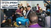 """יו""""ר הרשימה המשותפת איימן עודה מצביע בבחירות הכלליות ב-2015, נצרת (צילום: באסל עווידאת)"""