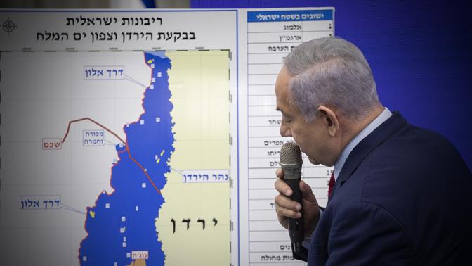 ראש הממשלה בנימין נתניהו מצהיר כי יספח את בקעת הירדן, במסיבת עיתונאים שבוע לפני יום הבחירות; 10.9.19 (צילום: הדס פרוש)