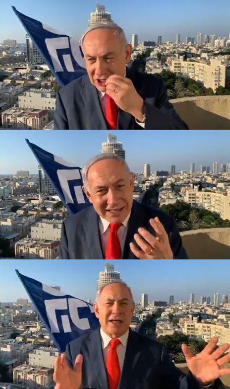ראש ממשלת ישראל, בנימין נתניהו, מתוך המונולוג המצולם שנשא מעל גגות תל-אביב (צילומי מסך)