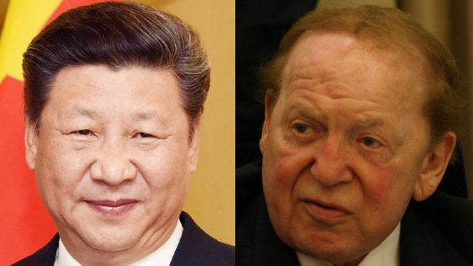 """שלדון אדלסון, בעל השליטה ב""""ישראל היום"""", ושי ג'ינפינג, שליט סין (צילומים: אנה קפלן וממשלת הודו)"""
