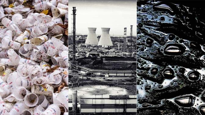 """בתי הזיקוק (בז""""ן) בחיפה, פסולת פלסטיק ונפט (צילומים: פלאש 90 ונחלת הכלל)"""