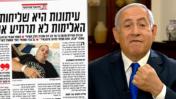 """מימין: בנימין נתניהו (צילום מסך) וחלק מטור של דניאל סיריוטי ב""""ישראל היום"""""""