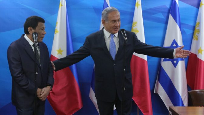 President of the Philippines Rodrigo Duterte meets with Israeli Prime Minister Benjamin Netanyahu in Jerusalem during Duterte's official visit to Israel, on September 3, 2018. Photo Marc Israel Sellem