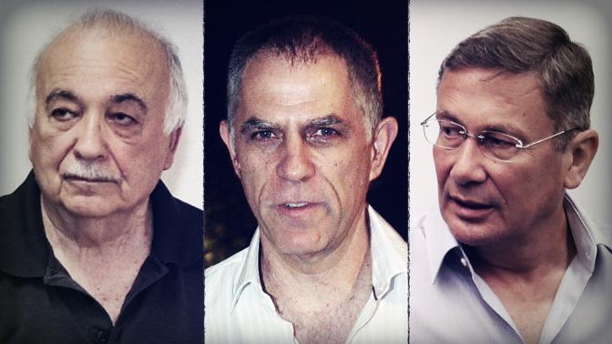 מימין: נוחי דנקנר, ארנון (נוני) מוזס, אליעזר פישמן (צילומים: פלאש90)