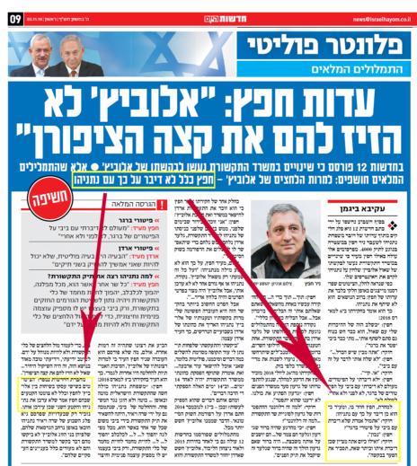 """הפרסום ב""""ישראל היום"""": גוף הידיעה מול הכותרת"""