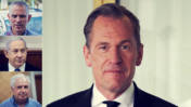 """מתיאס דופנר, מנכ""""ל תאגיד התקשורת הגרמני אקסל-שפרינגר (צילום מסך). משמאל: מו""""ל """"ידיעות אחרונות"""" ארנון (נוני) מוזס, ראש הממשלה בנימין נתניהו ובעל השליטה לשעבר בבזק וב""""וואלה"""" שאול אלוביץ' (צילומים: פלאש 90)"""