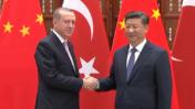 נשיא סין שי ג'ינפינג (מימין) ונשיא טורקיה רג'פ טאיפ ארדואן (צילום מסך)