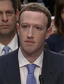 """מארק צוקרברג, מנכ""""ל ומייסד פייסבוק, בשימוע בסנאט האמריקאי (צילום מסך)"""