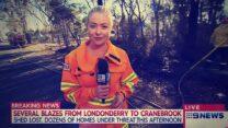 כתבת אוסטרלית מדווחת על שריפות הענק במדינה (צילום מסך)