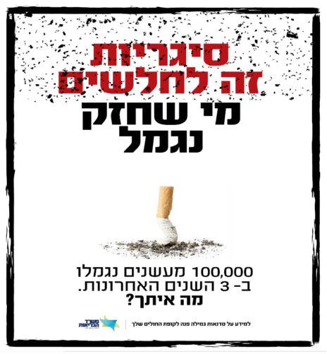 """מודעת נגד מטעם משרד הבריאות. """"ישראל היום"""", דצמבר 2019"""