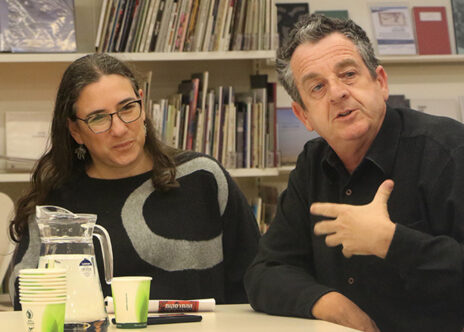 יואב איתיאל וחן פטר בכנס העיתונות העצמאית. בית אריאלה, תל-אביב, 27.12.2019 (צילום: יאיר גיל)
