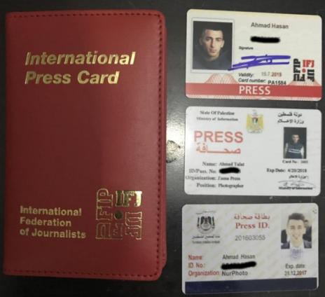 תעודות עיתונאי של אחמד טלעת פוזי חסן, כפי שצורפו לכתב התביעה
