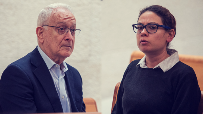 ענת קם ועמוס שוקן בבית-המשפט העליון, 13.1.2020 (צילומים: אוליבייה פיטוסי)