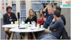 """מיקי רוזנטל (במרכז) עם חברי הפאנל ד""""ר דורון נבות, תומר אביטל, אור-לי ברלב, שרון שפורר והמנחה שוקי טאוסיג (צילום: ולריה קיריק)"""