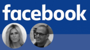 """לוגו פייסבוק (מתחת ללוגו: היחצן זמיר דחב""""ש והמנכלית בישראל עדי סופר-תאני; צילומי מסך)"""
