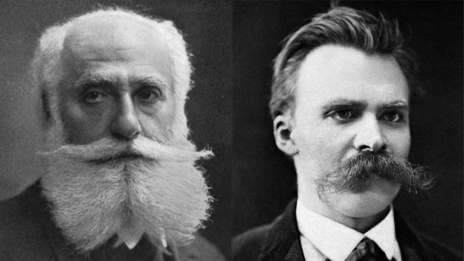 פרידריך ניטשה (מימין) ומקס נורדאו (צילומים: נחלת הכלל)