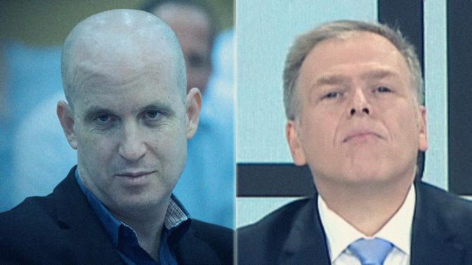 """אראל סג""""ל (מימין) ומנכ""""ל תאגיד השידור אלדד קובלנץ (צילומים: צילום מסך ויונתן זינדל)"""