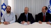 מימין: ניר ברקת, שר המשפטים אמיר אוחנה ואורן ליבוביץ' בסרטון תעמולה של הליכוד (צילום מסך)