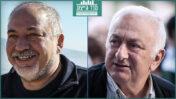 מימין: העיתונאי אריה גולן והפוליטיקאי אביגדור ליברמן (צילומים: פלאש 90)