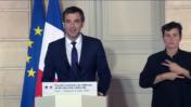שר הבריאות של צרפת אוליבייה ורן בהצהרה בנוגע למדיניות הקורונה בצרפת (צילום מסך)