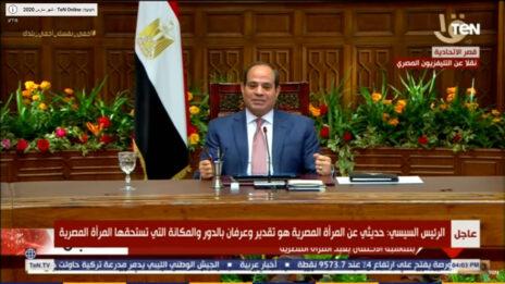 נשיא מצרים עבד אל-פתאח א-סיסי מתייחס לראשונה לנושא הקורונה בהופעה ציבורית; ארמון הנשיאות, 22.3 (צילום מסך)