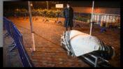 אדם עומד ליד גופתו של אריה אבן, האדם הראשון בישראל שנפטר כתוצאה מנגיף הקורונה; הר המנוחות, ירושלים, 22.3.2020 (צילום: יונתן זינדל)